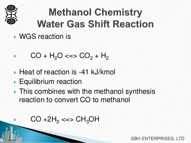 methanol sysnthesis Methanol use in vehicles has declined dramatically since the early 1990s this fuel is generally produced by steam-reforming natural gas to create a synthesis gas.