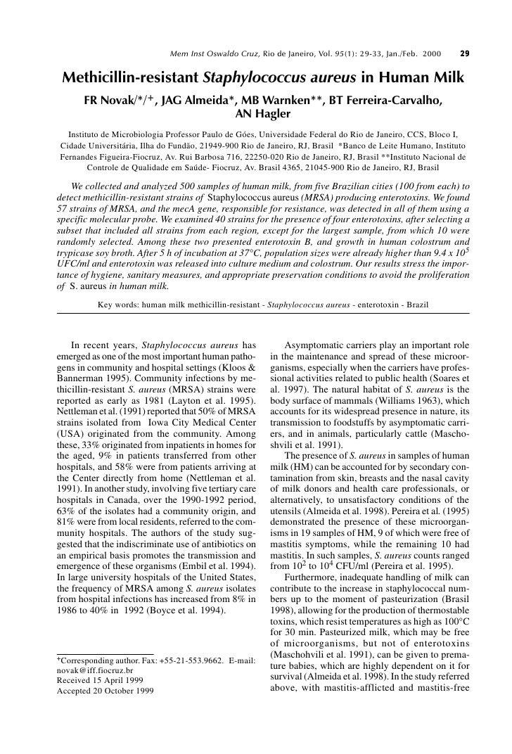 Methicillin Resistant Staphylococcus Aureus In Human Milk