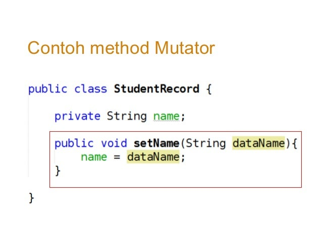 how to call a mutator method in java