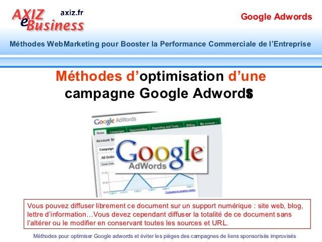 Google AdwordsMéthodes WebMarketing pour Booster la Performance Commerciale de l'Entreprise              Méthodes d'optimi...