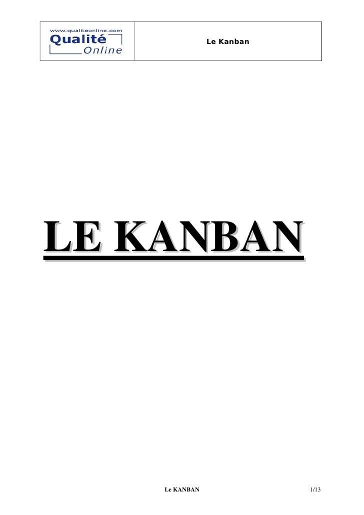 Le Kanban     LE KANBAN         Le KANBAN               1/13