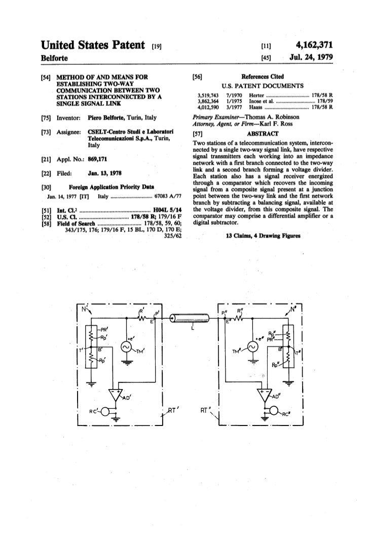 Piero Belforte Patent: Means for establishing two-way digital communication on a single channel