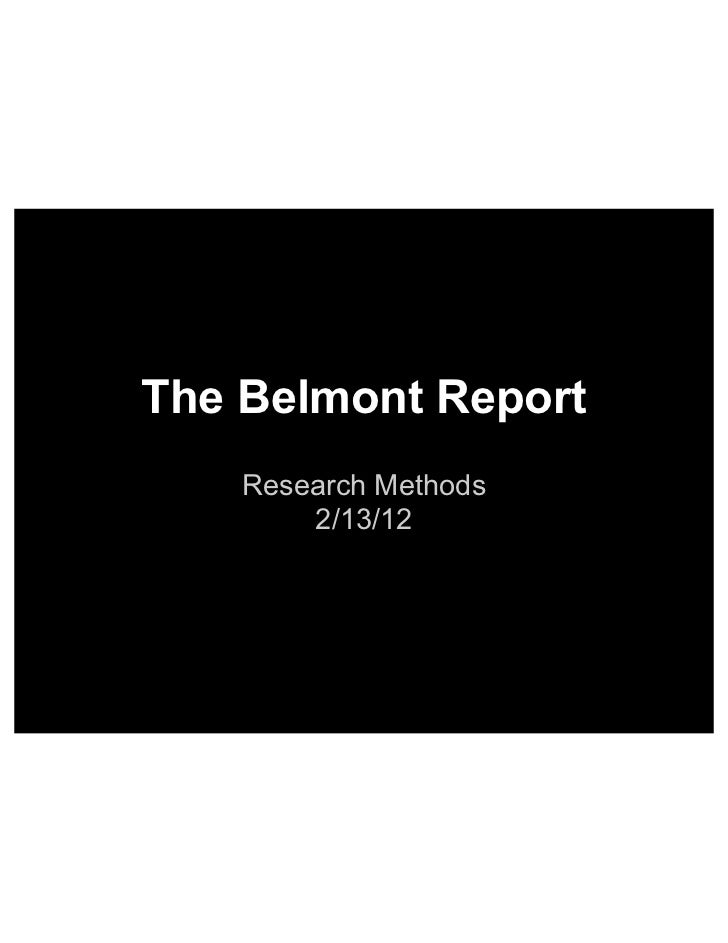 Methods   belmont report