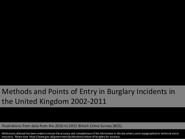Methods and Points of Entry in Burglary Incidents in the United Kingdom 2002-2011 Illustrations from data from the 2010 to...