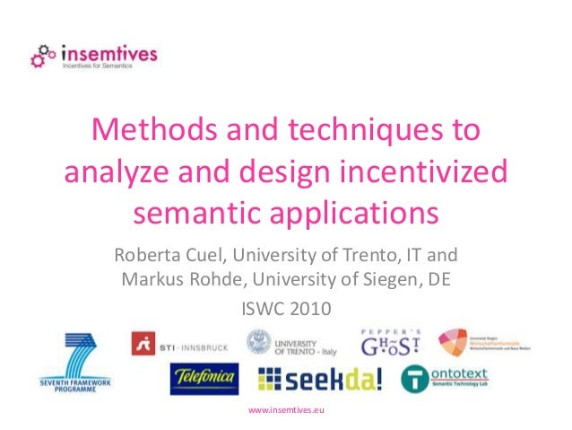 Methods and techniques to analyze and design incentivized semantic applications www.insemtives.eu Roberta Cuel, University...