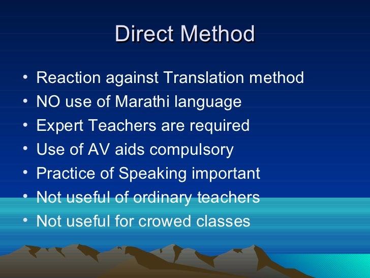 grammar translation method audio lingual method and direct Overview of english language teaching methods and i've choosen direct method and audio-lingual partly a backlash to the grammar translation method.