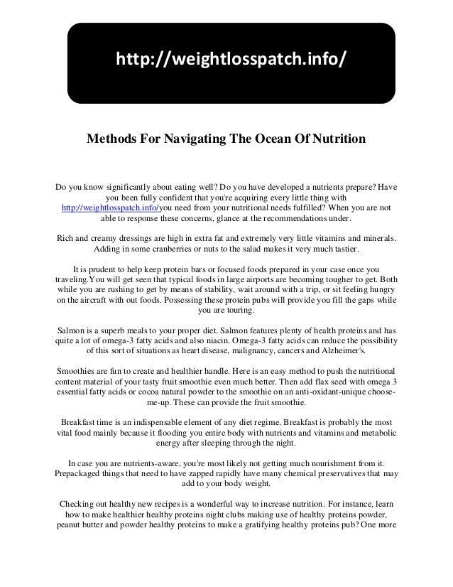 Methods for navigating the ocean of nutrition