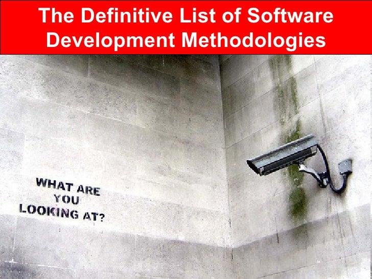 The Definitive List of Software Development Methodologies