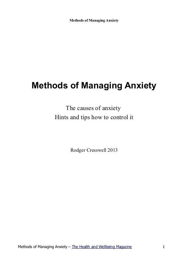 Methods of managing anxiety