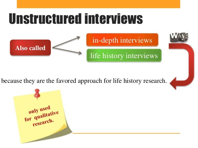 why unstructured interview have low predictive Interviewing in qualitative research unstructured interview and the semi-structured inter-view researchers sometimes employ the term quali.