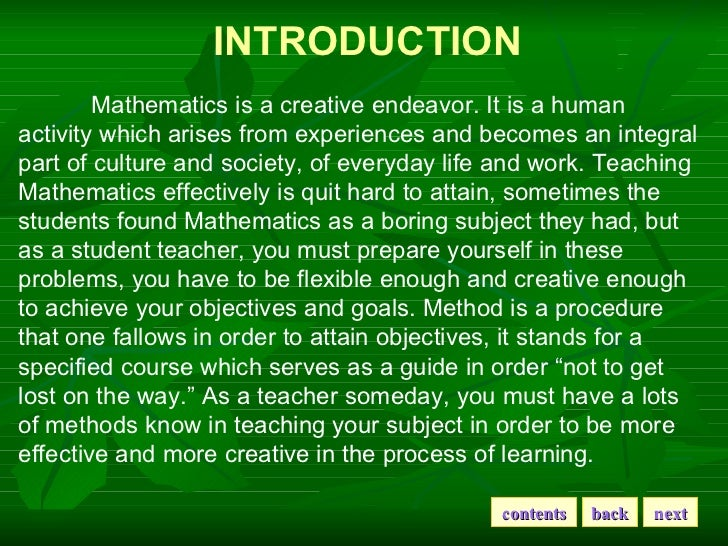 essay method of teaching mathematics These inductive teaching methods are guaranteed to increase student motivation  and participation kids learn content while sharpening processing skills.