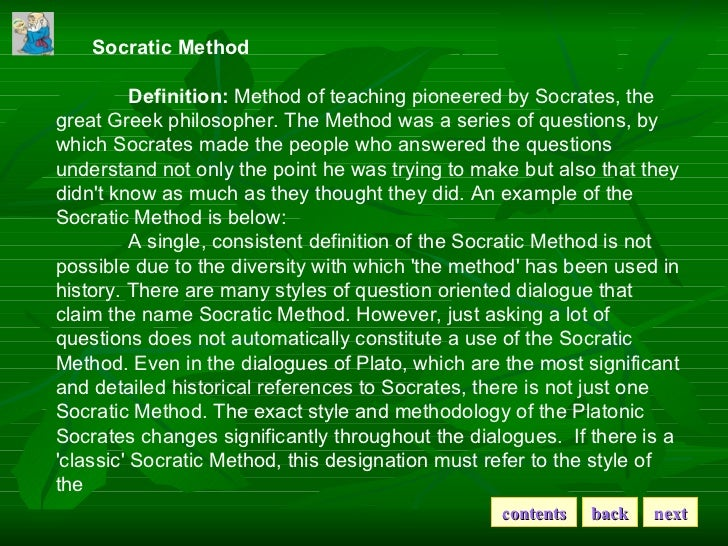 an analysis and an introduction to the socratic method of philosophy Protagoras introduction & analysis the protagoras several lesser touches of satire may be observed, such as the claim of philosophy advanced for the lacedaemonians the socratic method the apology of socrates about plato platonism.
