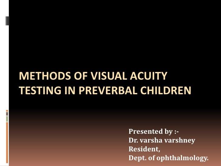 Methods of visual acuity testing in preverbal children