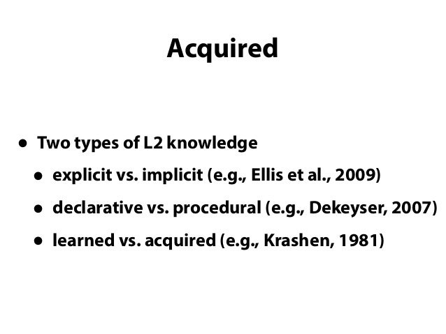 Types of L2 morphosyntactic knowledge that can and cannot