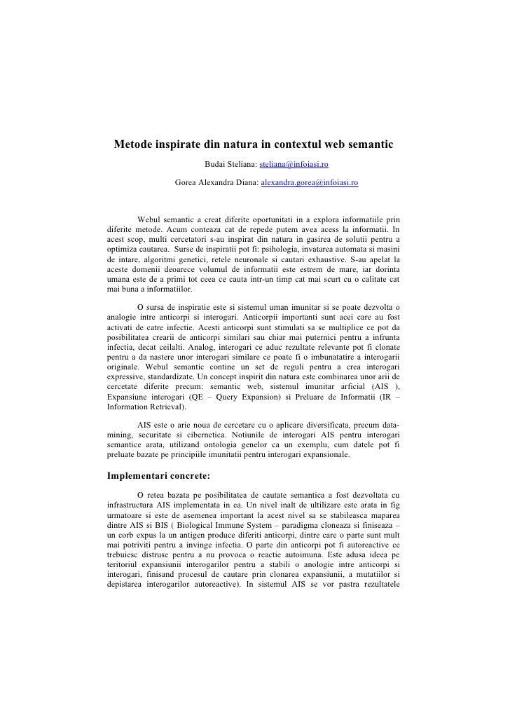 Metode inspirate din natura in contextul web semantic                              Budai Steliana: steliana@infoiasi.ro   ...