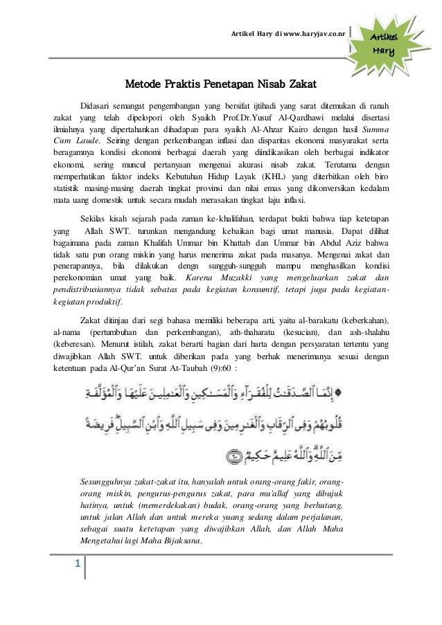 Artikel Hary di www.haryjav.co.nr 1 Artikel Hary Metode Praktis Penetapan Nisab Zakat Didasari semangat pengembangan yang ...