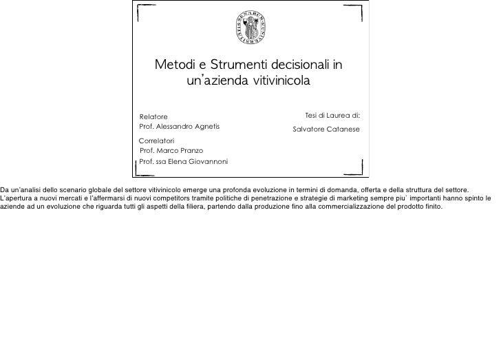 Metodi e Strumenti decisionali in                                                       un'azienda vitivinicola     ...