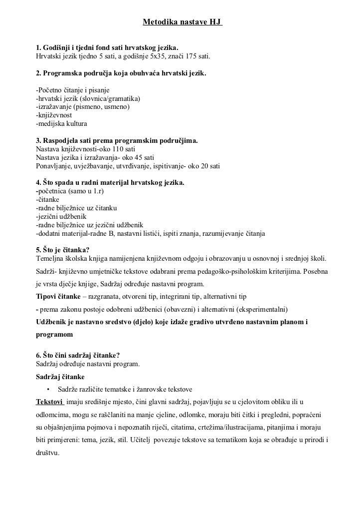 Metodika nastave HJ1. Godišnji i tjedni fond sati hrvatskog jezika.Hrvatski jezik tjedno 5 sati, a godišnje 5x35, znači 17...