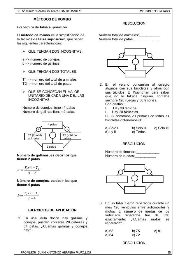 "I. E. Nº 10007 ""SAGRADO CORAZON DE MARIA"" METODO DEL ROMBO MÉTODOS DE ROMBO Por técnica de falsa suposición: El método de ..."