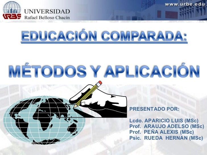 PRESENTADO POR: Lcdo. APARICIO LUIS (MSc) Prof.  ARAUJO ADELSO (MSc) Prof.  PEÑA ALEXIS (MSc) Psic.  RUEDA  HERNAN (MSc)