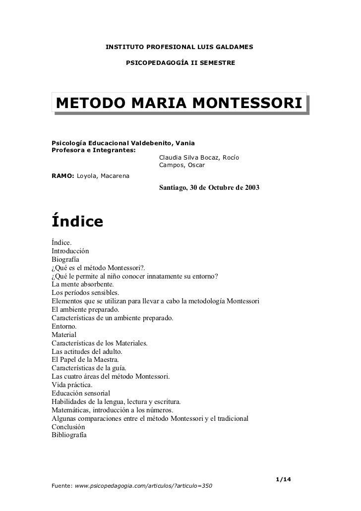 INSTITUTO PROFESIONAL LUIS GALDAMES                         PSICOPEDAGOGÍA II SEMESTRE METODO MARIA MONTESSORIPsicología E...