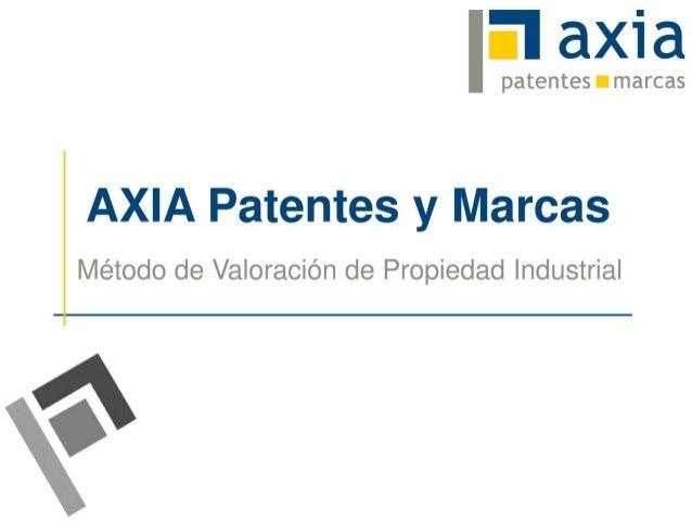 pate tes • marcasAXIA Patentes y MarcasMétodo de Valoración de Propiedad Industrial