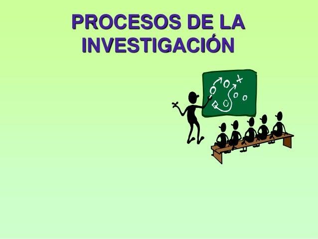 PROCESOS DE LA INVESTIGACIÓN