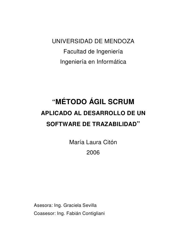 """UNIVERSIDAD DE MENDOZA               Facultad de Ingeniería             Ingeniería en Informática             """"MÉTODO ÁGIL..."""