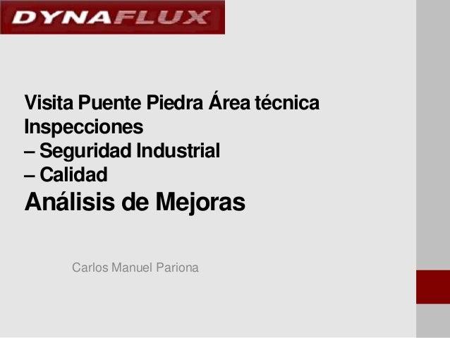 Visita Puente Piedra Área técnica Inspecciones – Seguridad Industrial – Calidad  Análisis de Mejoras Carlos Manuel Pariona