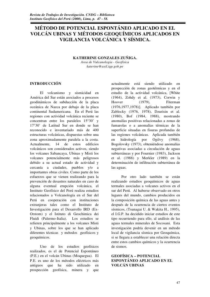 Revista de Trabajos de Investigación. CNDG – Biblioteca Instituto Geofísico del Perú (2000), Lima, p. 47 - 58.   MÉTODO DE...