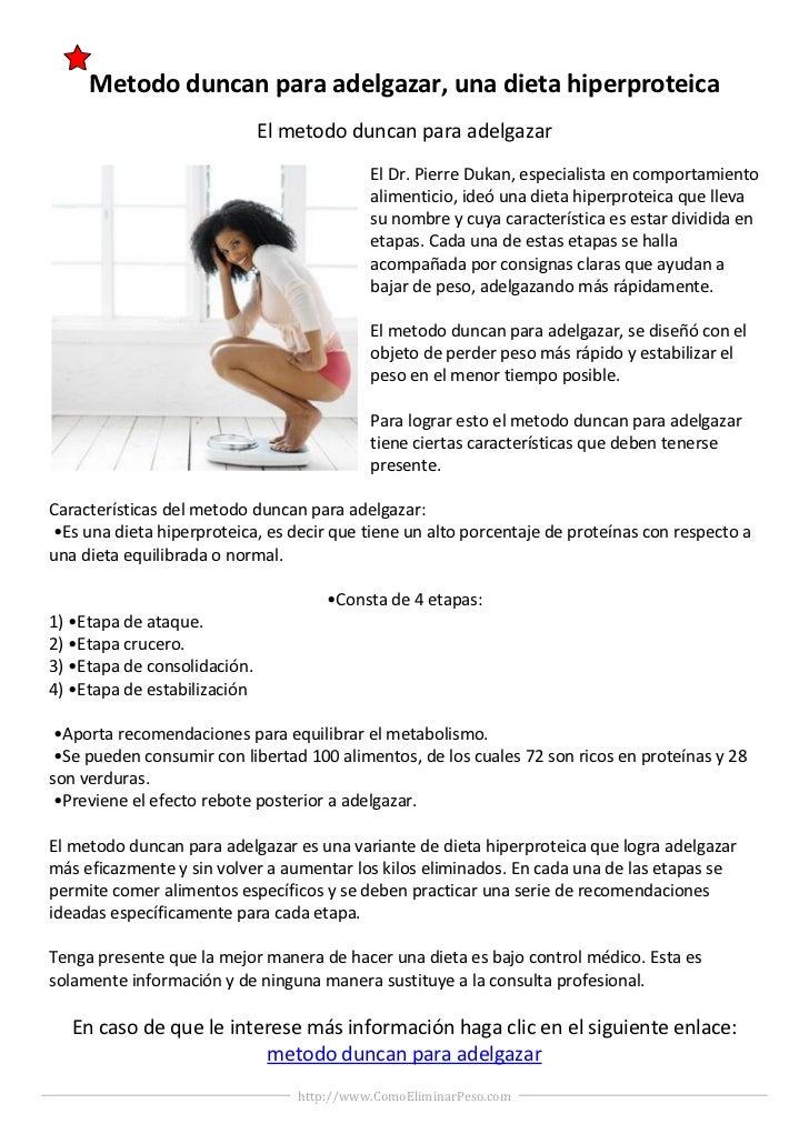 Metodo duncan para adelgazar, una dieta hiperproteica                              El metodo duncan para adelgazar        ...