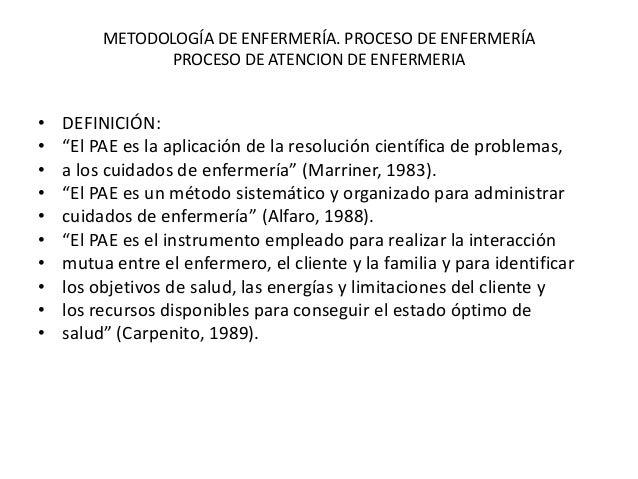 """METODOLOGÍA DE ENFERMERÍA. PROCESO DE ENFERMERÍA PROCESO DE ATENCION DE ENFERMERIA  • • • • • • • • • •  DEFINICIÓN: """"El P..."""
