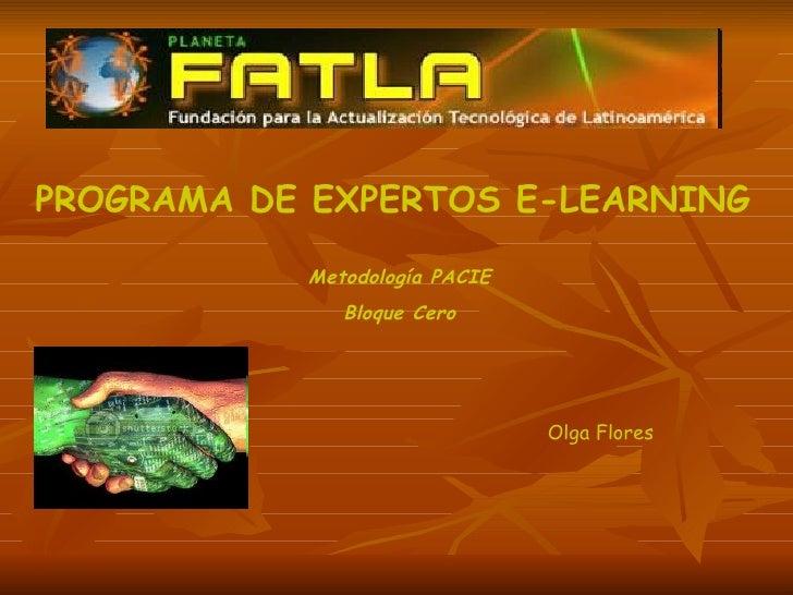 PROGRAMA DE EXPERTOS E-LEARNING Metodología PACIE Bloque Cero Olga Flores