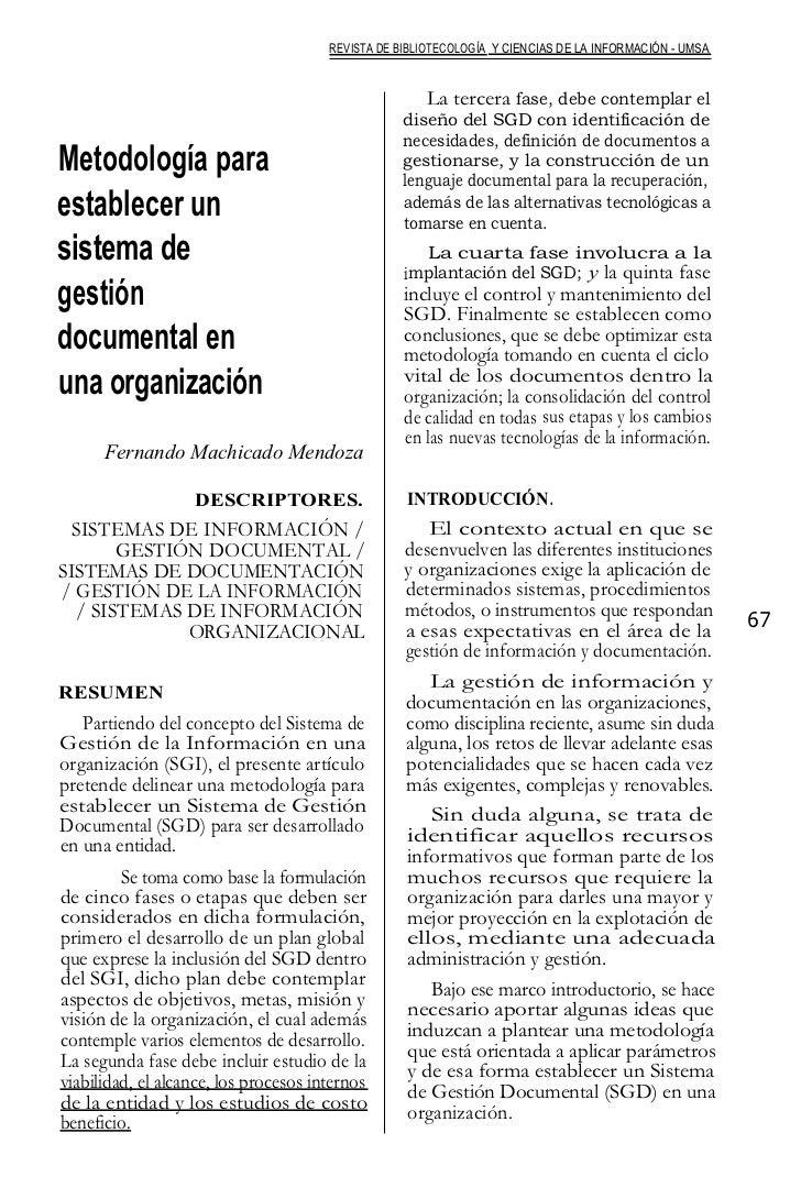 Metodología para establecer un sistema de gestion documental
