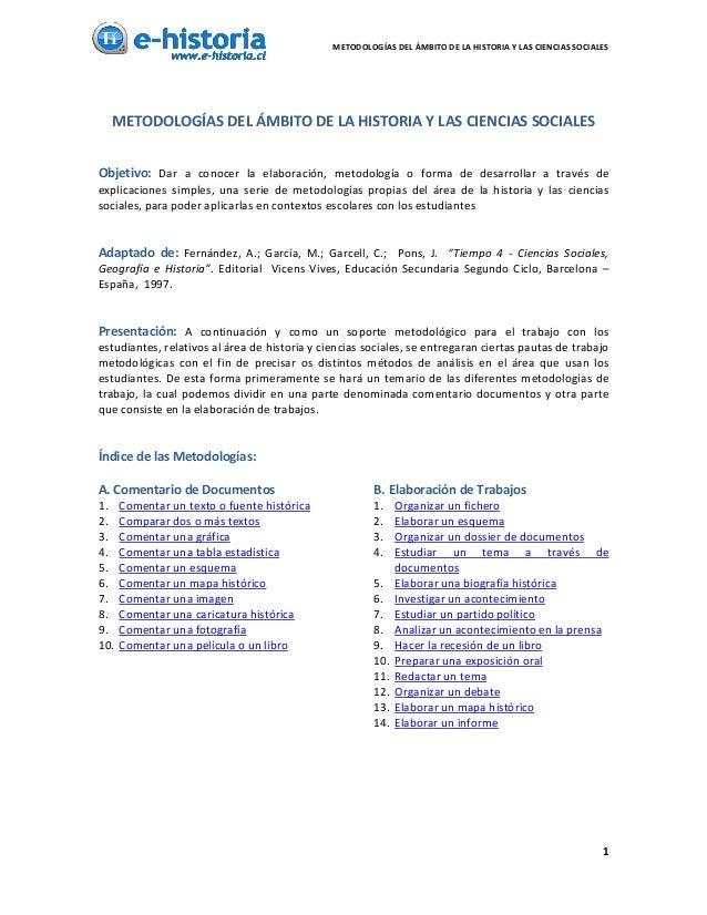 METODOLOGÍASDELÁMBITODELAHISTORIAYLASCIENCIASSOCIALES   METODOLOGÍASDELÁMBITODELAHISTORIAYLASCIENCIAS...