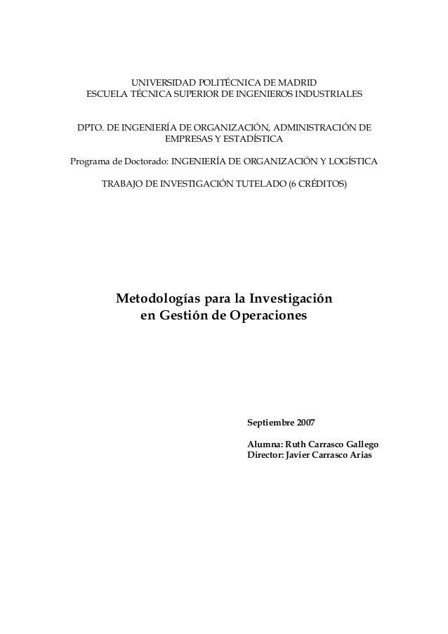 UNIVERSIDAD POLITÉCNICA DE MADRID   ESCUELA TÉCNICA SUPERIOR DE INGENIEROS INDUSTRIALES DPTO. DE INGENIERÍA DE ORGANIZACIÓ...