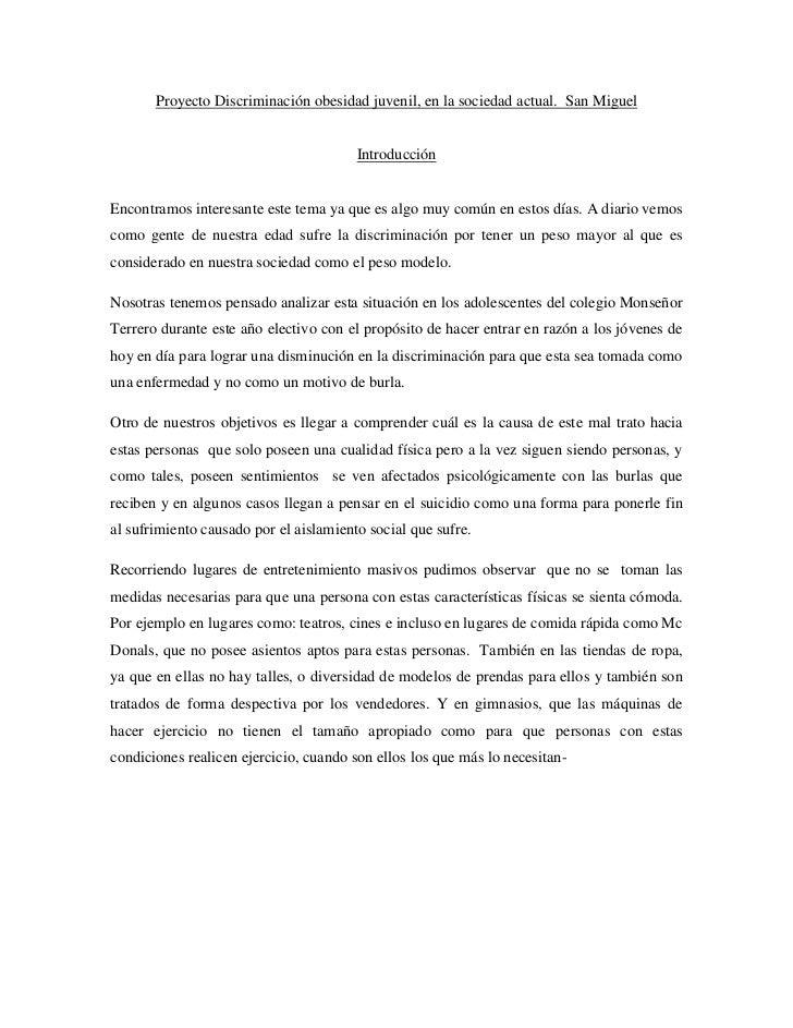 Proyecto Discriminación obesidad juvenil, en la sociedad actual. San Miguel                                        Introdu...