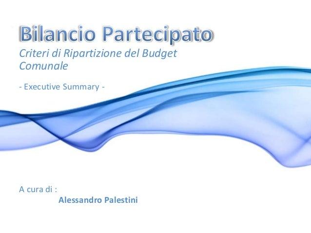 Metodologia bilancio partecipato