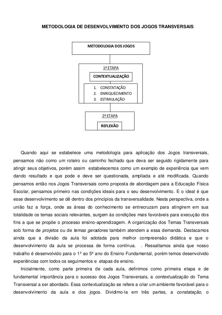 METODOLOGIA DE DESENVOLVIMENTO DOS JOGOS TRANSVERSAIS                                    METODOLOGIA DOS JOGOS            ...