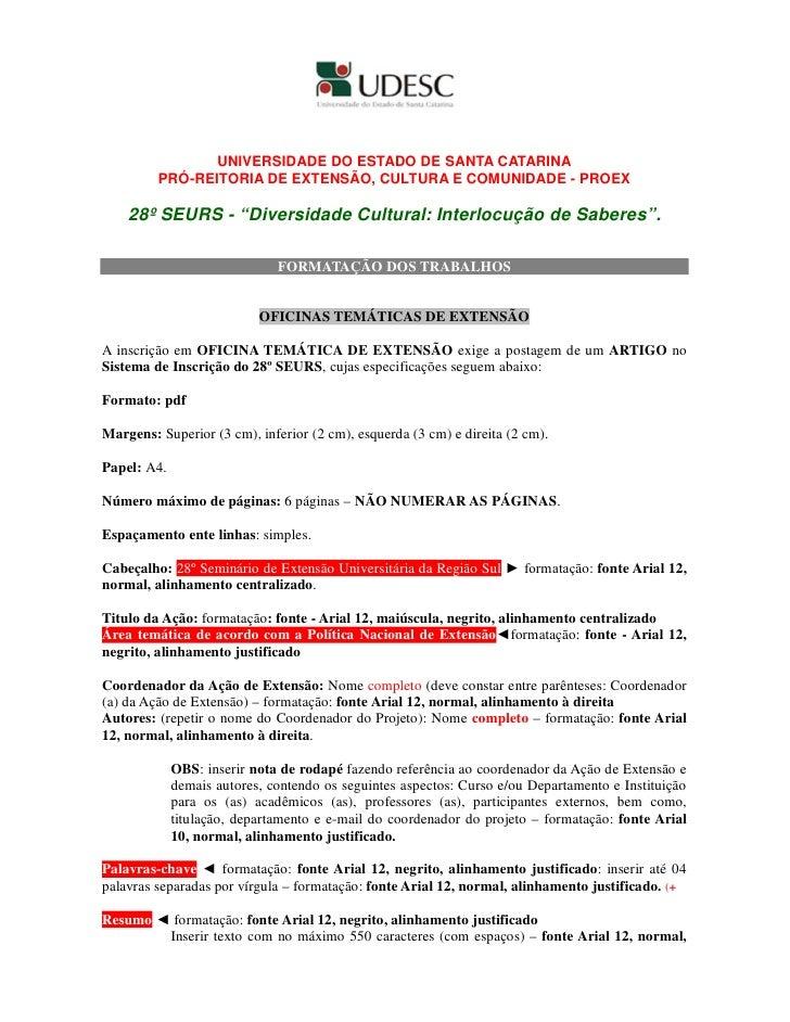 UNIVERSIDADE DO ESTADO DE SANTA CATARINA          PRÓ-REITORIA DE EXTENSÃO, CULTURA E COMUNIDADE - PROEX      28º SEURS - ...