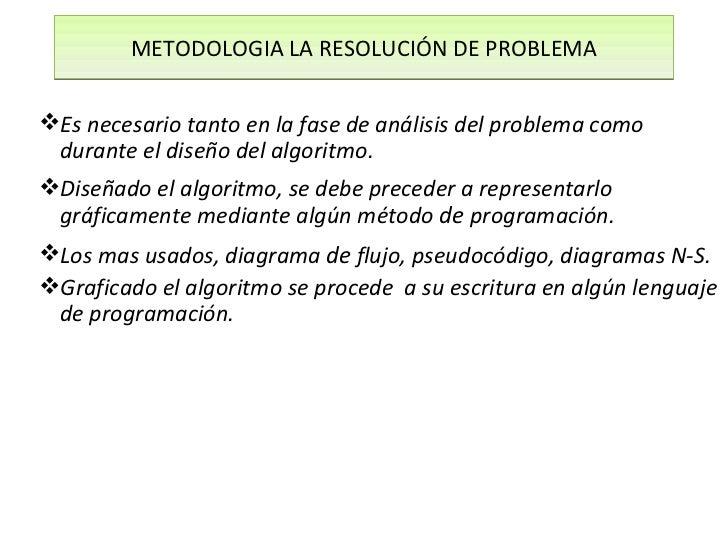 METODOLOGIA LA RESOLUCIÓN DE PROBLEMAEs necesario tanto en la fase de análisis del problema como durante el diseño del al...