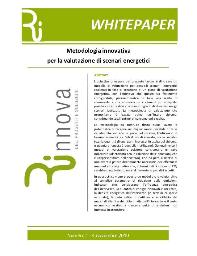 Metodologia per la valutazione energetica
