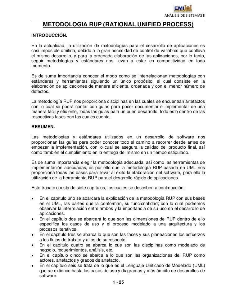 ANÁLISIS DE SISTEMAS II     METODOLOGIA RUP (RATIONAL UNIFIED PROCESS)INTRODUCCIÓN.En la actualidad, la utilización de met...