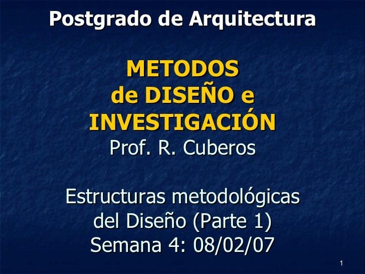 Postgrado de Arquitectura METODOS de DISEÑO e INVESTIGACIÓN Prof. R. Cuberos Estructuras metodológicas del Diseño (Parte 1...