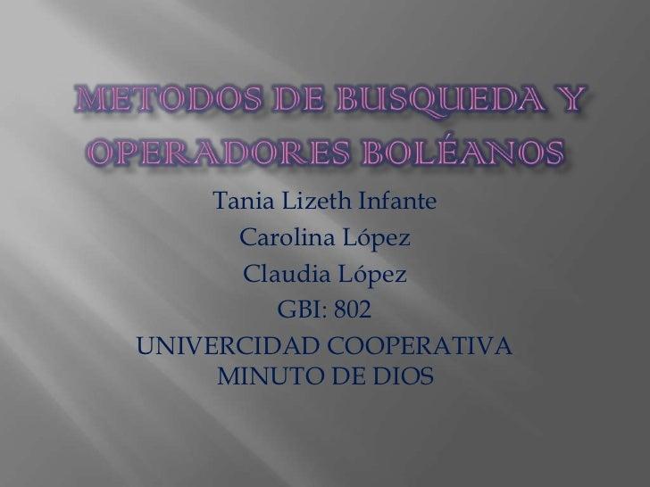 Tania Lizeth Infante       Carolina López       Claudia López          GBI: 802UNIVERCIDAD COOPERATIVA     MINUTO DE DIOS