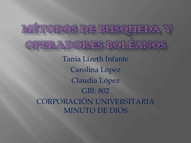 Tania Lizeth Infante       Carolina López       Claudia López          GBI: 802CORPORACIÓN UNIVERSITARIA     MINUTO DE DIOS