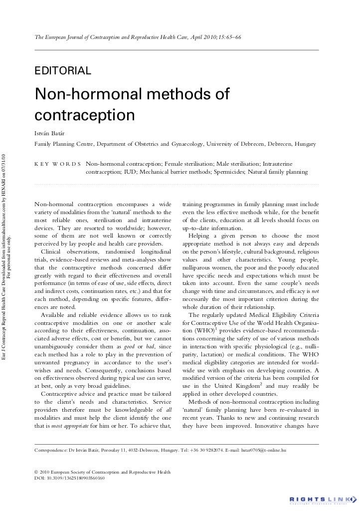 The European Journal of Contraception and Reproductive Health Care, April 2010;15:65–66                                   ...