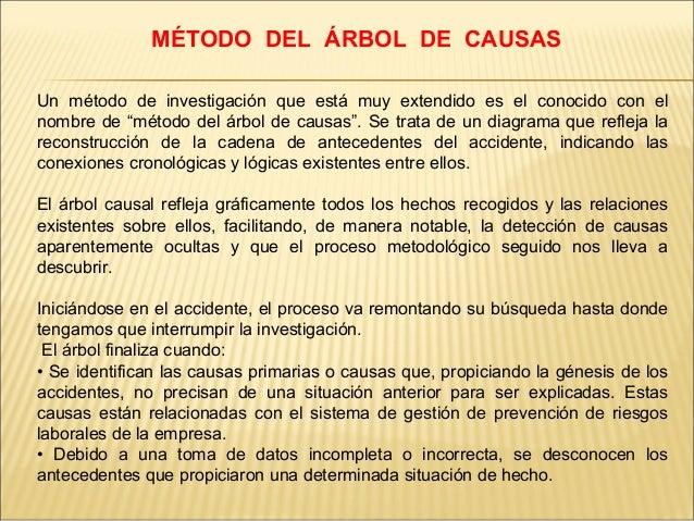 """MÉTODO DEL ÁRBOL DE CAUSAS Un método de investigación que está muy extendido es el conocido con el nombre de """"método del á..."""