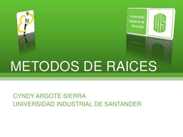 METODOS DE RAICES<br />CYNDY ARGOTE SIERRA<br />UNIVERSIDAD INDUSTRIAL DE SANTANDER<br />