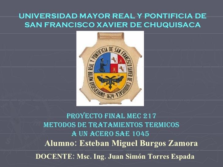 UNIVERSIDAD MAYOR REAL Y PONTIFICIA DE  SAN FRANCISCO XAVIER DE CHUQUISACA METODOS DE TRATAMIENTOS TERMICOS A UN ACERO SAE...